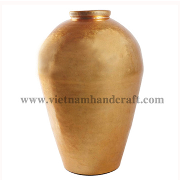 Lacquerware bamboo vase in gold silver
