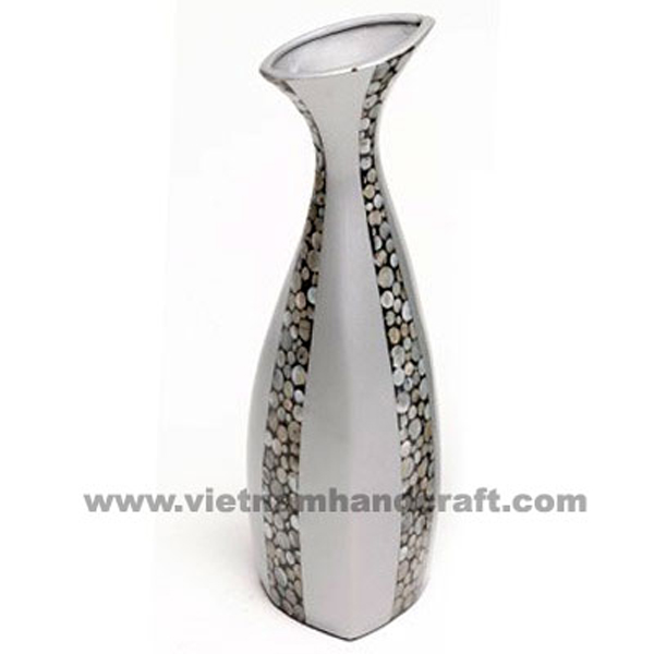 Solid silver lacquered decorative vase inlaid with mother of pearl
