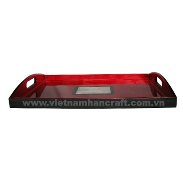 Red silver & black tray with eggshell inlay