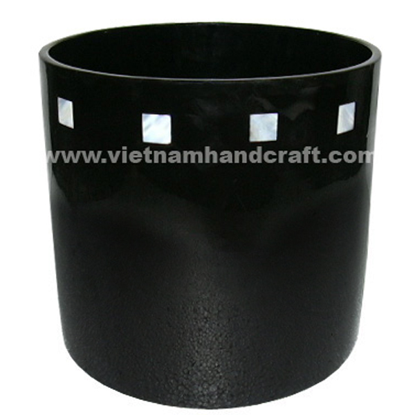 Black planter inlaid with mother of pearl