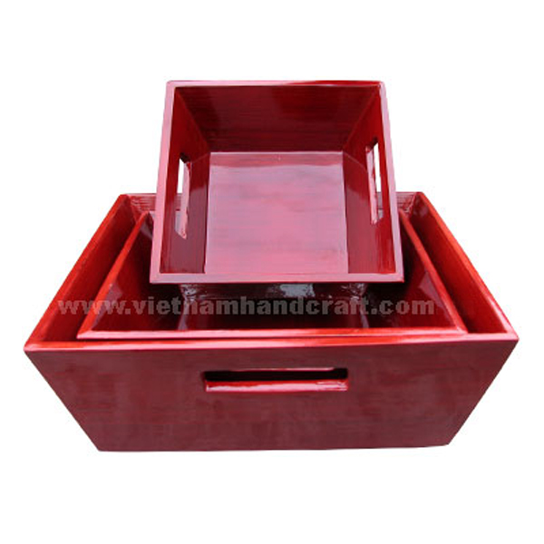 Set of 3 bamboo storage baskets hand lacquered in red all over