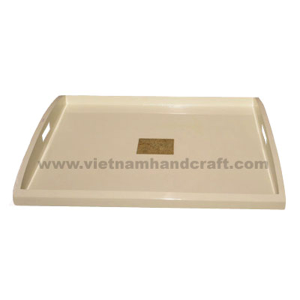 Lacquered wooden cosmetics tray inlaid with eggshell