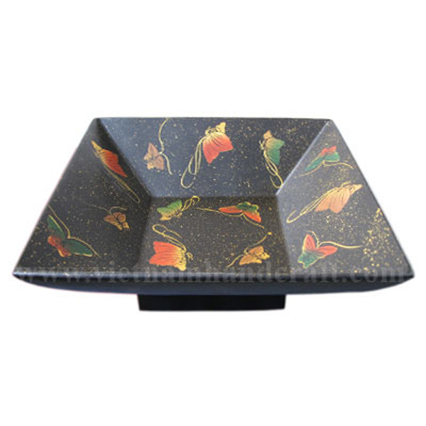 Black lacquered decorative bowl with hand-painted butterflies inside