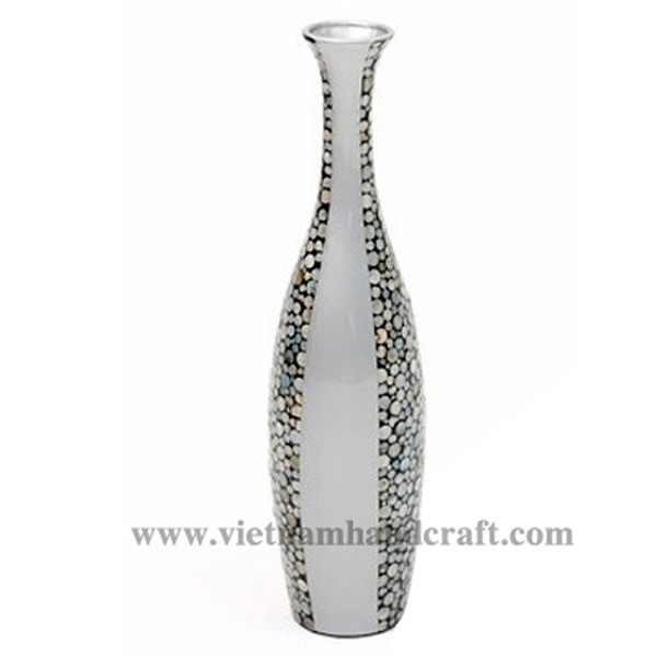 Solid silver lacquerware decoration vase with sea shell inlay