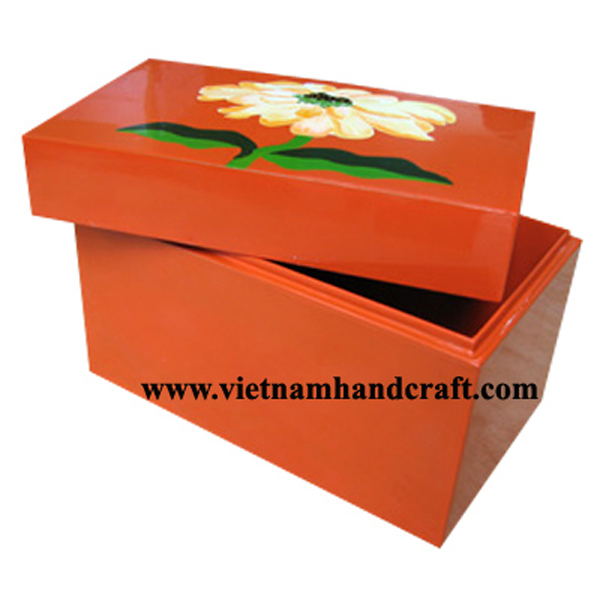 Orange lacquered wood storage box with hand-painted flower