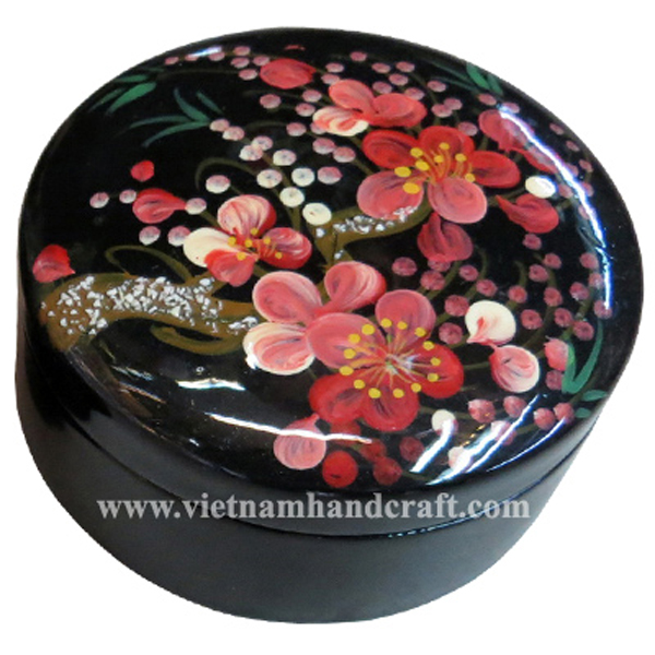 Lacquered wood decor box with hand-painted flowers
