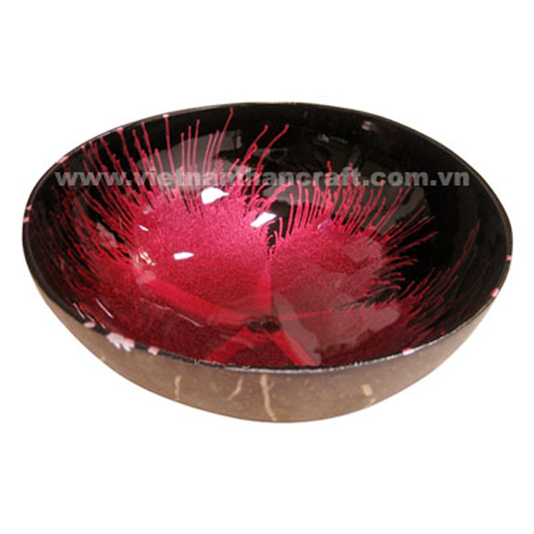 Coconut lacquerware bowl. Inside in black with hand-painted red fireworks, outside in natural coconut shelll