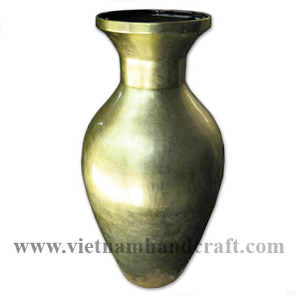 Lacquer bamboo decor floor vase in gold silver leaf