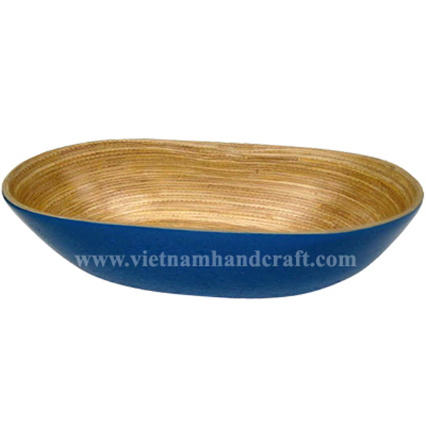 Lacquer bamboo bowl. Inside in natural, outside in blue