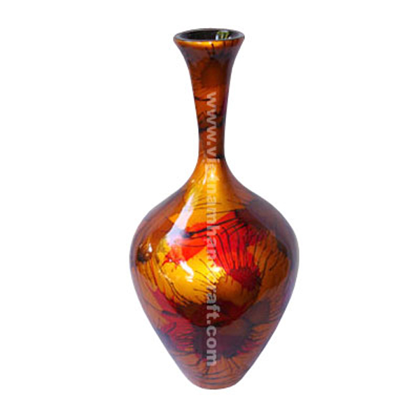 Gold lacquered decorative vase with hand-painted fireworks