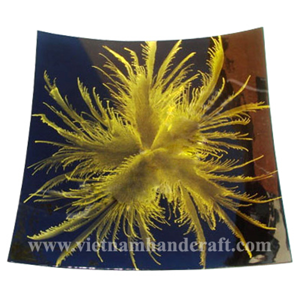 Black lacquer fruit plate with hand-painted yellow fireworks
