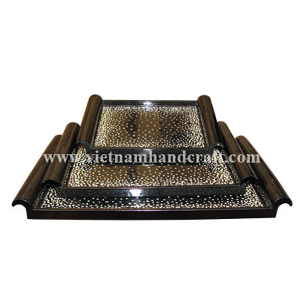 Black lacquered bathroom amenity tray inlaid with white eggshell