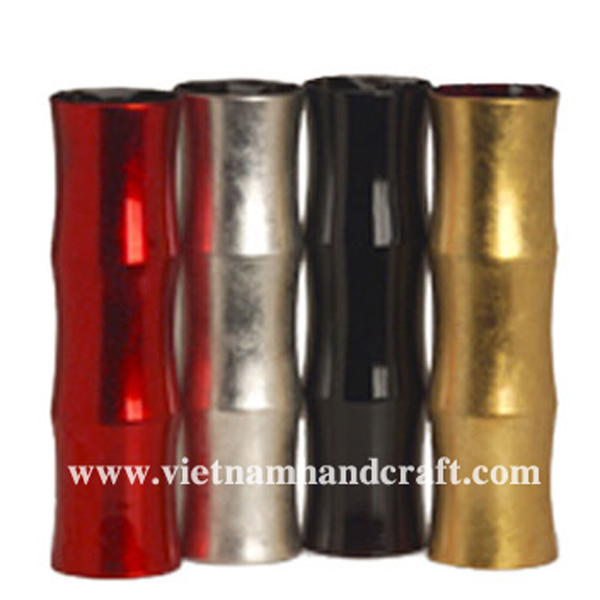 Set of 4 bamboo tree-shaped lacquered wood vases in black, white, gold & red silver leaf