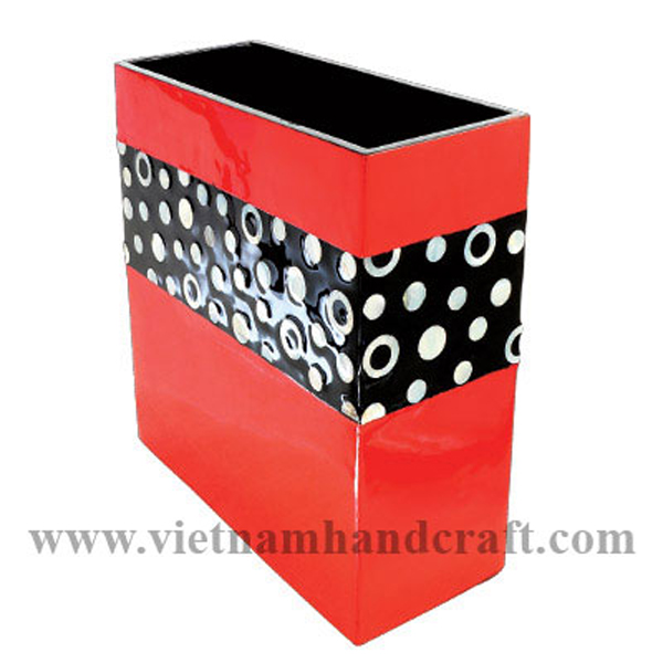 Wooden lacquerware vase in solid red & black with mother of pearl inlay