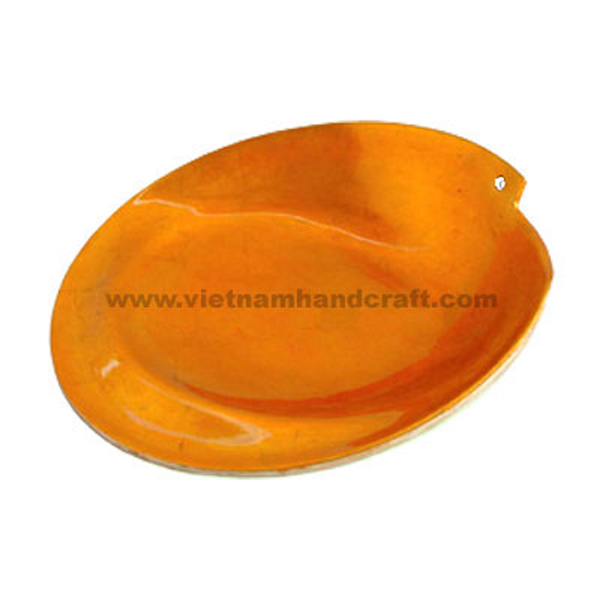 Lacquered serving plate in silver metallic orange
