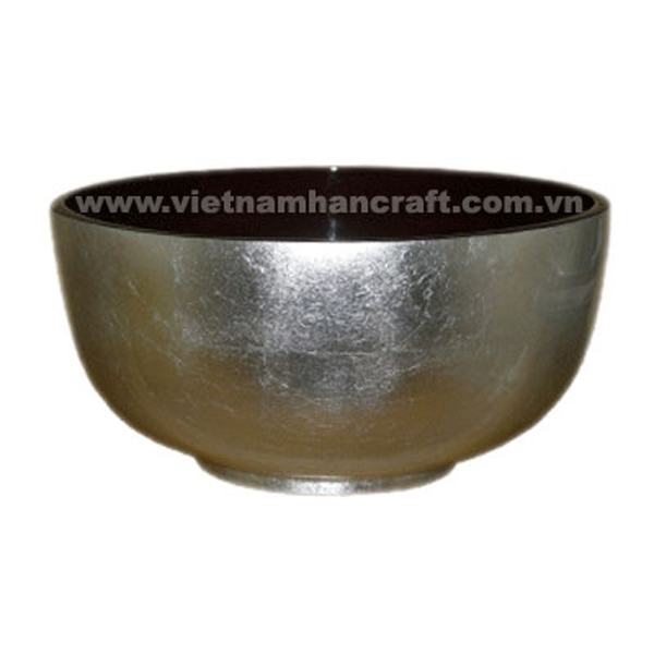 Lacquered bowl in black & white silver leaf