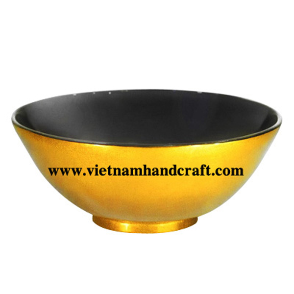 Lacquer bamboo decorative bowl in black & gold leaf