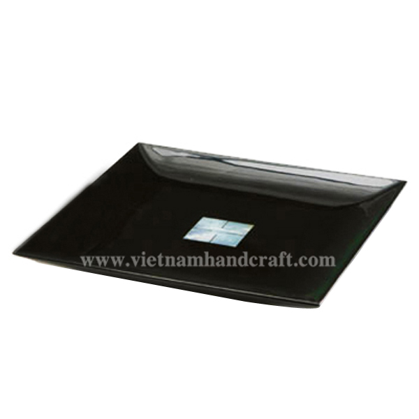 Black lacquered plate with mother of pearl inlay