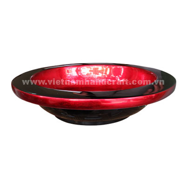 Lacquered wood decoration bowl in black & silver metallic red