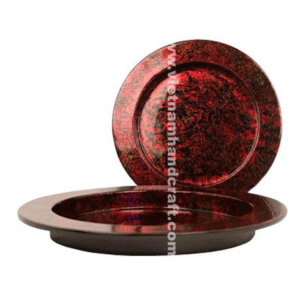 Lacquered wood serving tray. Inside in silver metallic red & black, outside in black