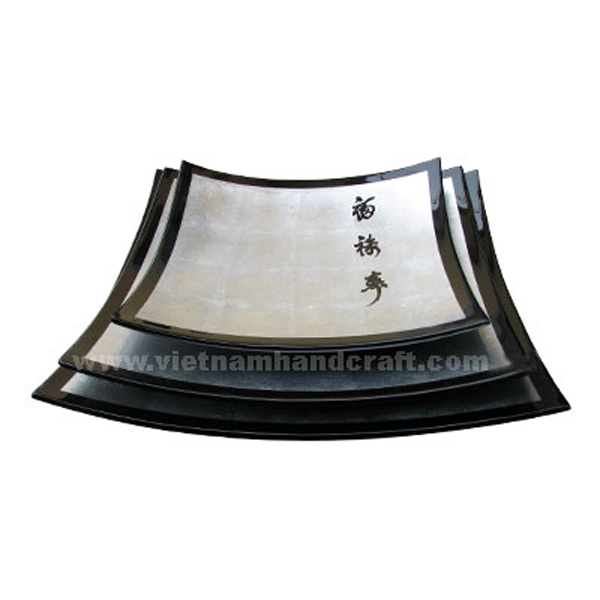 Set of three black & white silver leaf plates with black Chinese characters