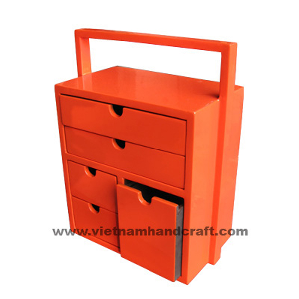 5 drawer lacquer wooden treasure chest with handle