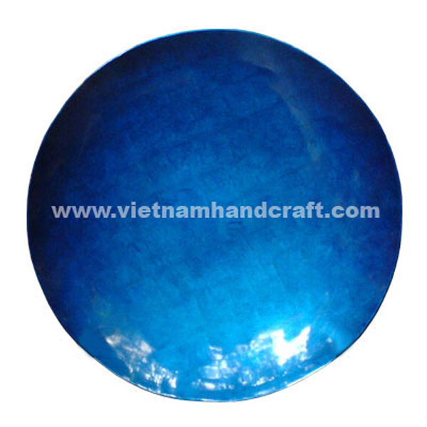 Lacquered plate in blue silver