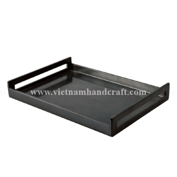 Black lacquered wooden coffee tray