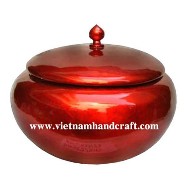 Lacquered bamboo storage jar in silver metallic red