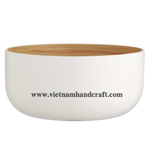 Lacquered bamboo food bowl. Inside in natural, outside in white