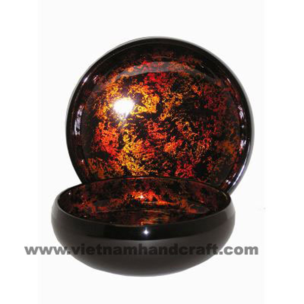 Lacquer decor bowl. Inside in antique gold silver leaf, outside in black