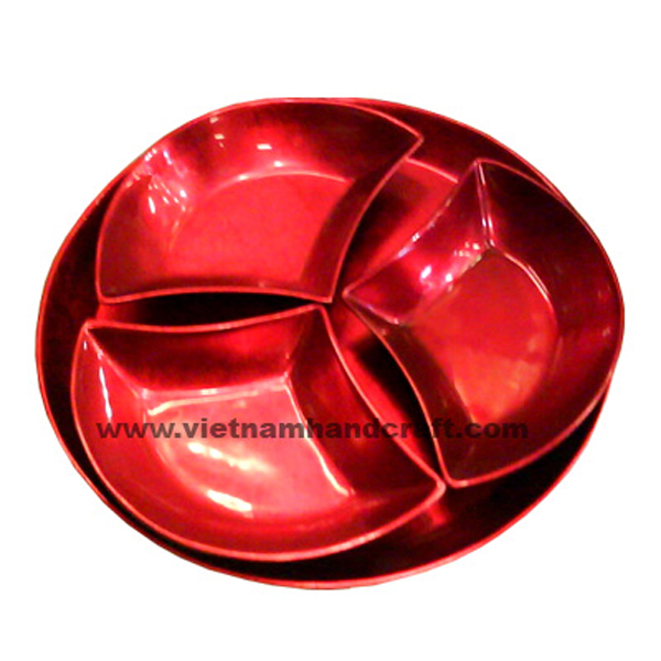 Set of 3 silver metallic red serving plates with holder tray