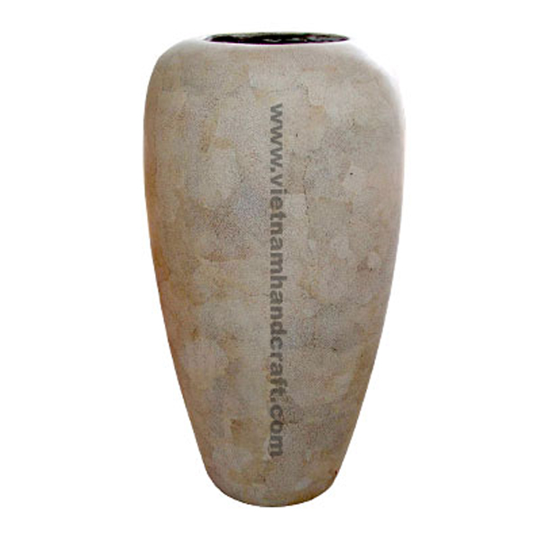 Lacquered bamboo decor vase with eggshell inlay
