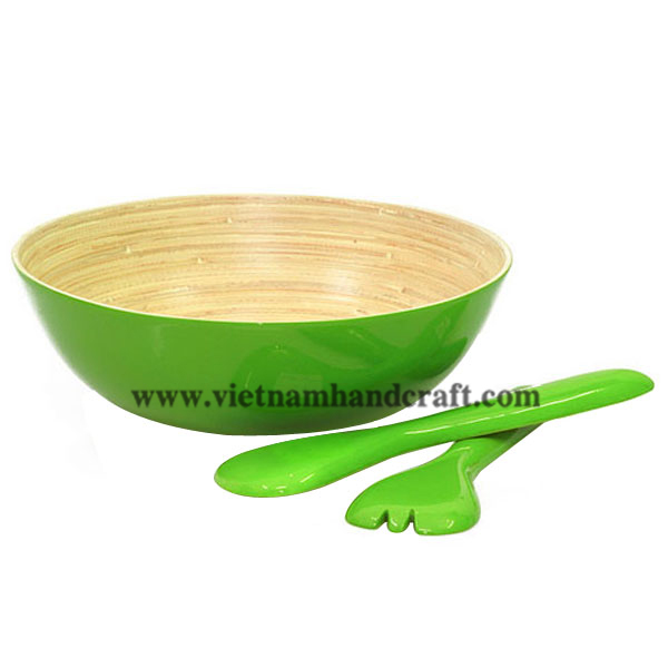 Lacquered bamboo salad bowl with salad server set