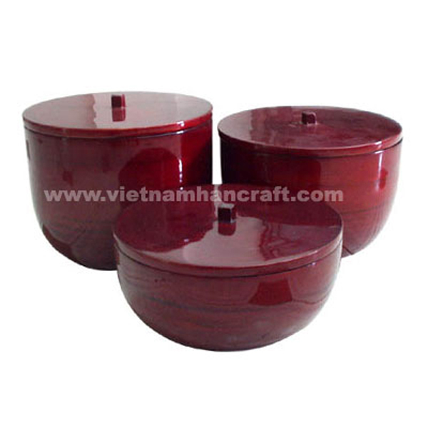 Set of 3 bamboo bowls with lid