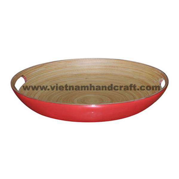 Lacquered bamboo salad tray. Inside in natural bamboo, outside in red