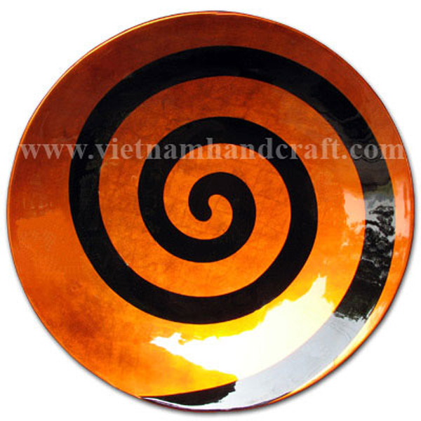 Orange silver lacquered decoration bowl with black shell motif