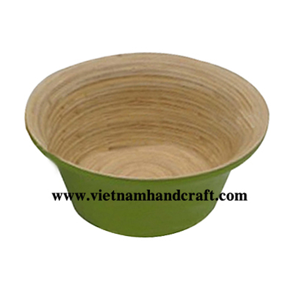 Lacquer bamboo food bowl. Inside in natural bamboo, outside in yelllow