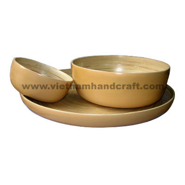 Lacquered bamboo bowl & tray