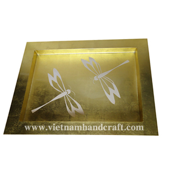 Lacquerware cocktail tray. Inside in gold leaf & with hand-painted white dragonflies, outside in black