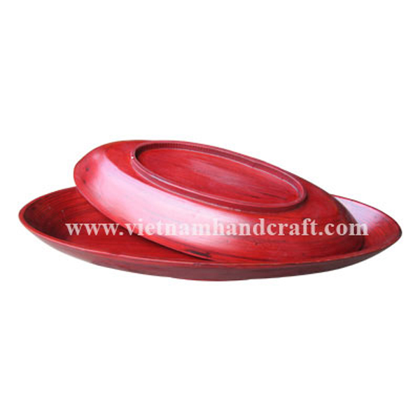 Set of 2 bamboo bowls hand finished in red all over