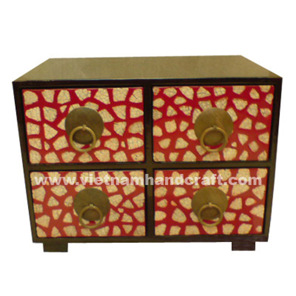 Black & red 4 drawer-lacquered wood jewellery chest with eggshell inlay