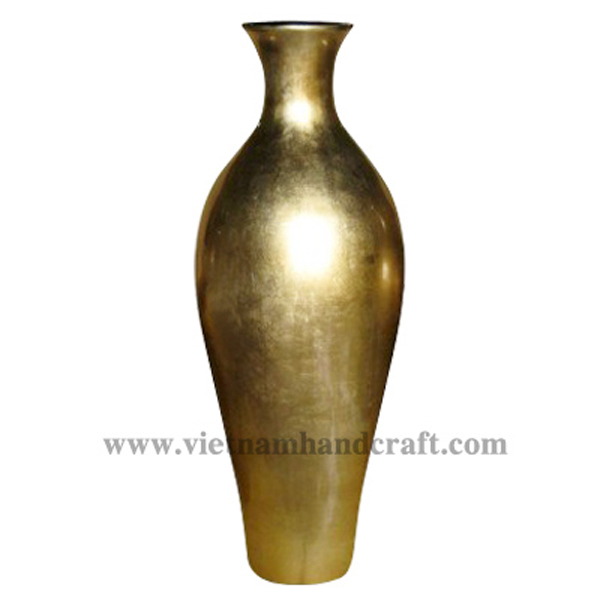Lacquered decorative vase in gold silver leaf