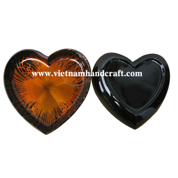 Heart-shaped black lacquered dish with hand-painted orange fireworks