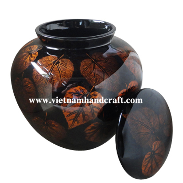 Black lacquered ceramic funeral urn with hand-painted gold leaves