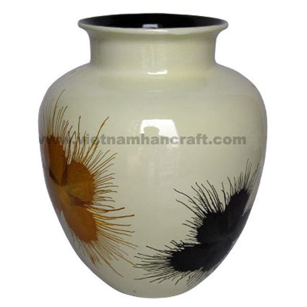 White lacquer ceramic vase with hand-painted fireworks
