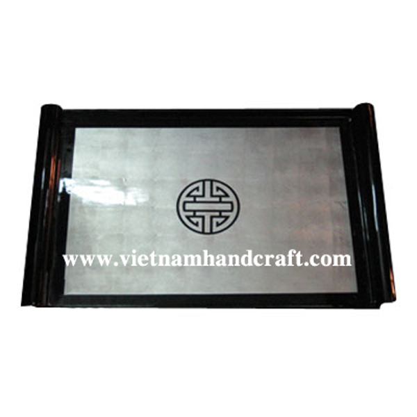 Black & white silver leaf drink tray with black Chinese character