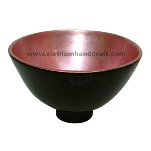 Lacquerware bowl. Inside in silver metallic pink, outside in black