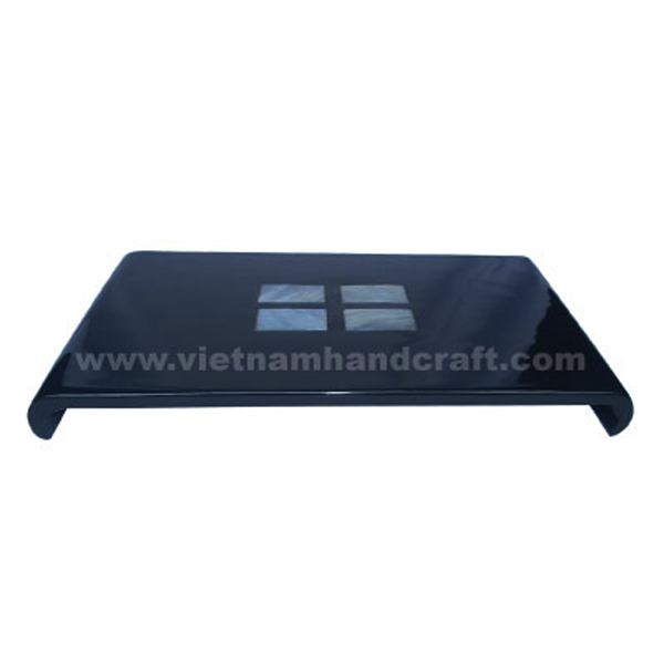 Black lacquered wood cake tray inlaid with mother of pearl