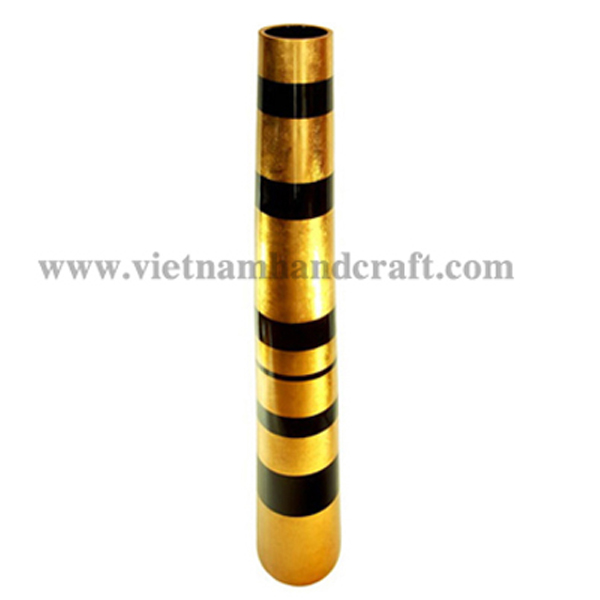 Lacquerware vase in gold silver with black stripes